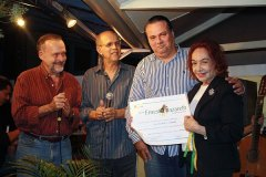 Cravo Albin, Joel Nascimento, Luiz Antônio de Almeida, homenageado, e Maria Josephina Mignone na entrega do Diploma Ernesto Nazareth