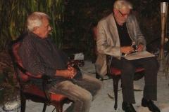 Carlos Lyra e Ivan Junqueira falam sobre a poesia de Vinicius de Moraes no Largo da Mãe do Bispo