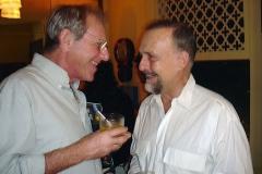 Alberto Rosenblit e Cravo Albin, durante o coquetel em homenagem a compositora Sueli Costa