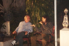 Francis Hime conversa com o poeta Geraldinho Carneiro, no início do show